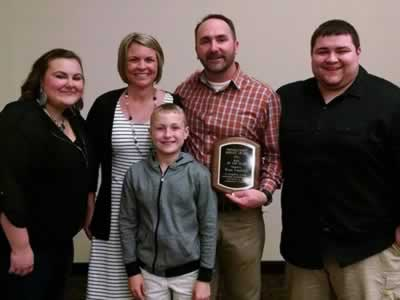 Brian Vandetta and Family with Lebanon Oregon Man of the Year Award